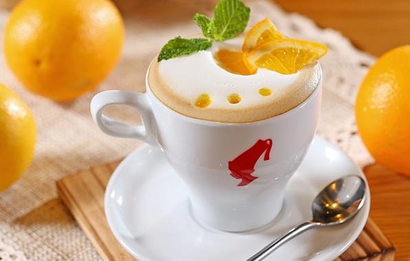 Picture foam, coffee, oranges, milk, spoon, Cup, white, pieces, fruit, cappuccino, citrus, saucer