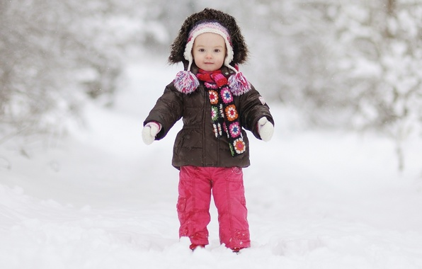 Picture winter, snow, joy, happiness, children, childhood, child, cute, coat, beautiful, beautiful, winter, snow, coat, child, …