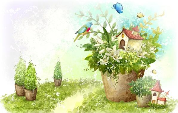 Picture butterfly, flowers, house, bird, figure, Lily, plants, parrot, pot, hut