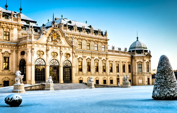 Picture winter, snow, Austria, architecture, Palace, Vienna, The Belvedere Palace In Vienna