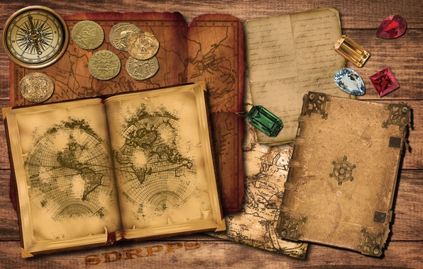 Wallpaper Gold Old Map Book Compass Ruby Coins Emerald Images For Desktop Section разное