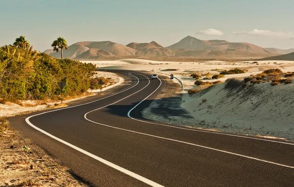 Picture road, machine, markup, hills