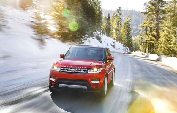Picture Red, Road, Machine, Land Rover, Range Rover, Blik, Sport, The front, In Motion