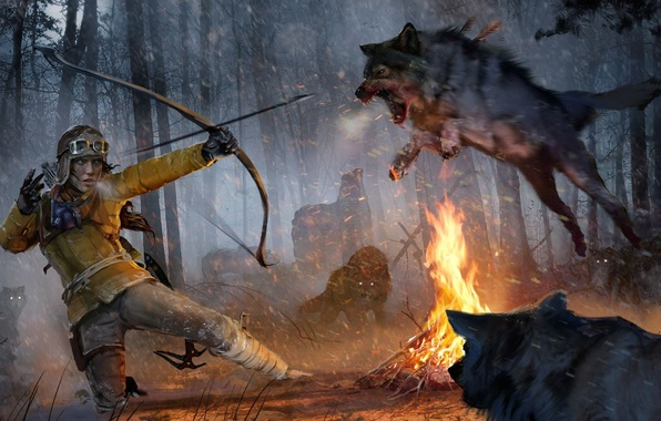 Picture Girl, Snow, Forest, Bow, Lara Croft, Square Enix, The fire, Lara Croft, DLC, Wolves, Rise …