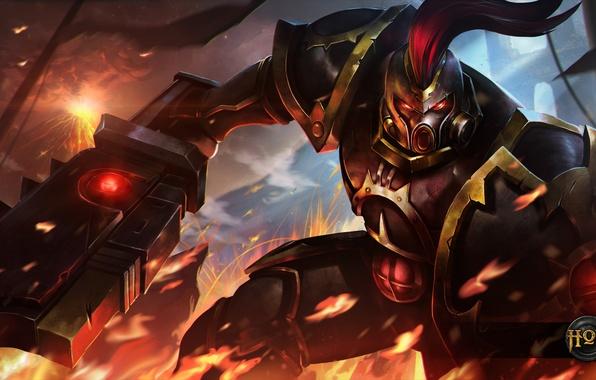 Picture fire, sword, armor, shield, Kane, Heroes of Newerth, Septar, Black Legion Kane