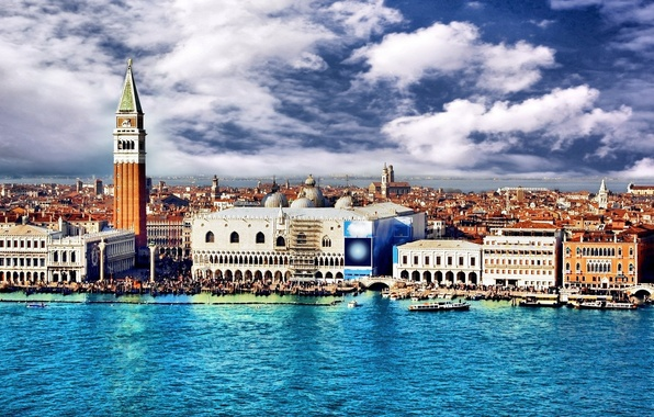Picture the sky, water, clouds, the city, building, Venice, Italy, italy, venice