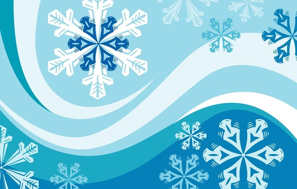 Picture line, snowflakes, strip, vector graphics