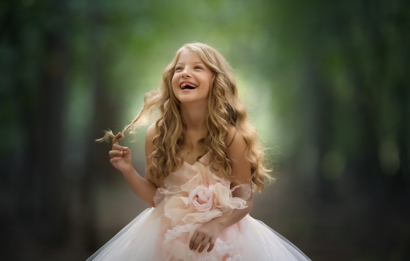 Picture background, mood, laughter, dress, girl, curls, toothless