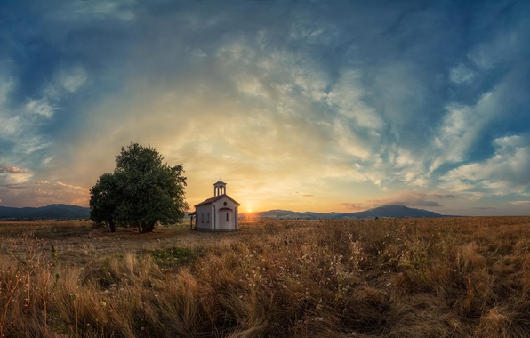 Picture field, the sky, clouds, sunset, mountains, tree, Bulgaria, Sofia, The Church of St. Peter and …