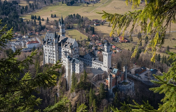 Picture castle, Germany, Bayern, Neuschwanstein, panorama, Neuschwanstein, castle