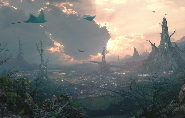 Picture the city, valley, flying, settlement, rays