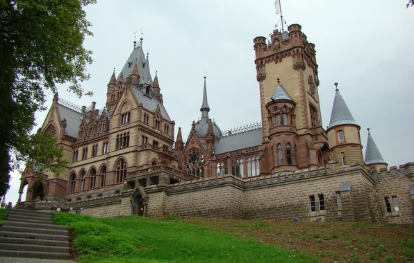 Picture grass, the city, photo, castle, Germany, ladder, Dragon castle