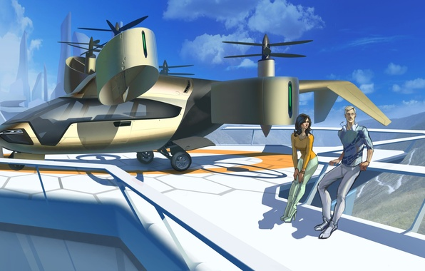 Picture the city, future, woman, helicopter, male, aircraft, art