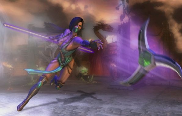 Picture girl, weapons, the game, shadow, battle, art, costume, Mortal Kombat, Jade