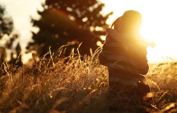 Picture field, girl, the sun, love, background, widescreen, Wallpaper, mood, woman, feelings, plants, pair, wallpaper, male, …