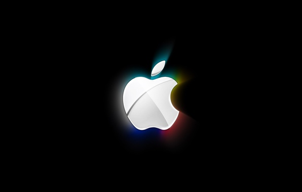 Picture white, light, abstraction, black, apple