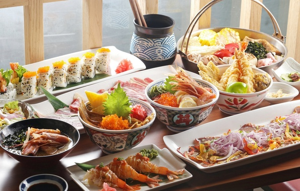 Picture vegetables, caviar, sushi, shrimp, seafood, meals, cuts, Chinese cuisine