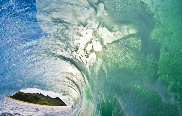 Picture sea, greens, foam, squirt, hills, wave