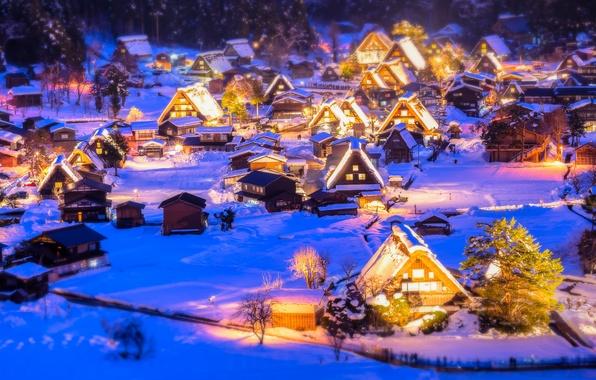 Photo wallpaper lights, illumination, New Year, snow, winter, Christmas, Christmas village