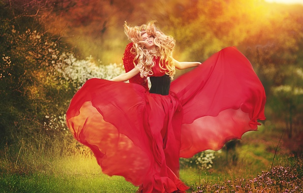 Picture greens, girl, flowers, wings, dress, blonde