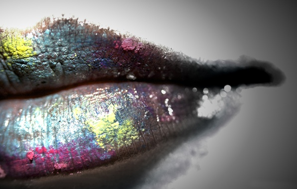 Picture color, girl, style, lips, grey background, fashion, color, lips