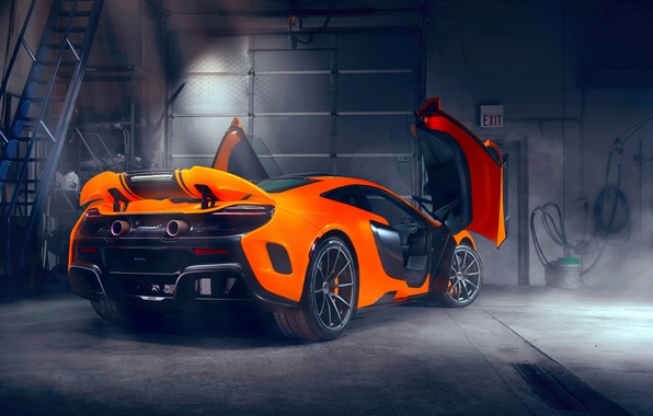 Photo wallpaper light, up, garage, door, spoiler, rear view, Maclaren