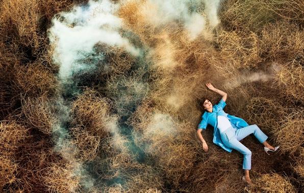 Picture grass, smoke, Marion Cotillard, Madame Figaro