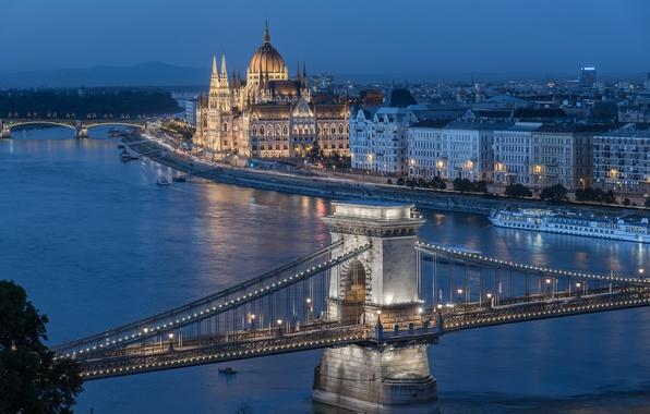 Picture river, building, bridges, promenade, ship, Hungary, Hungary, Budapest, Budapest, Chain bridge, Danube River, The Hungarian ...