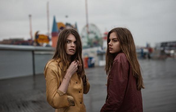 Picture girls, hair, face, weather, slush, jackets