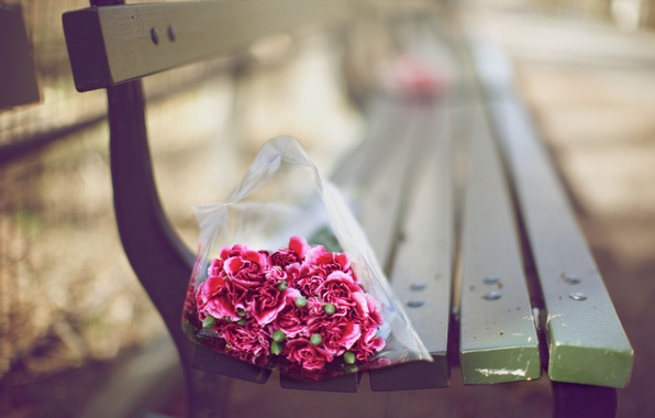 Picture flowers, bench, mood, Wallpaper, bouquet, blur, shop, bokeh