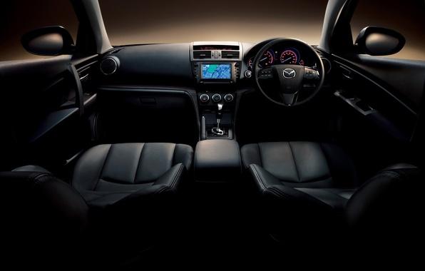 Picture machine, the wheel, cabin, salon, cars, widescreen walls, seats mazda atenza 2011, the gearbox, Mazda