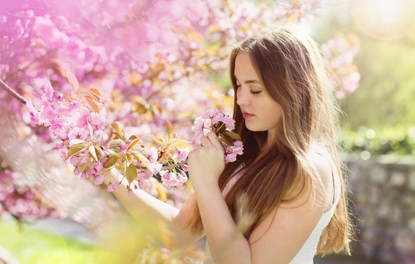 Picture girl, flowers, spring, girl, brown hair, brown hair, flowers, spring