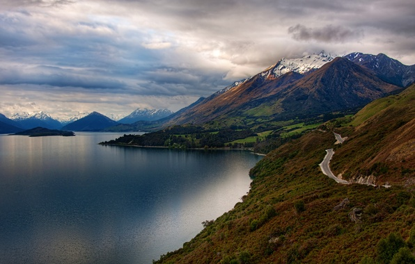 Picture road, snow, trees, landscape, mountains, nature, lake, island, New Zealand, New Zealand