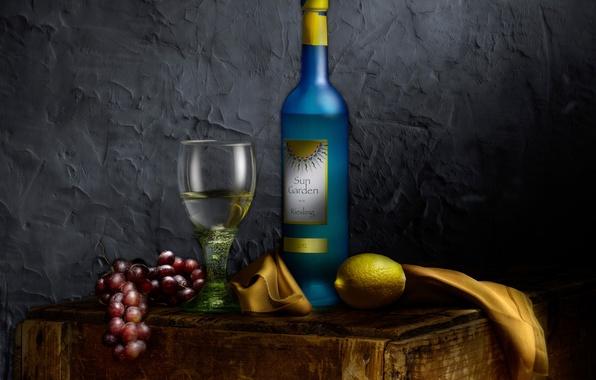 Picture wine, lemon, glass, grapes, still life, Bottle of wine