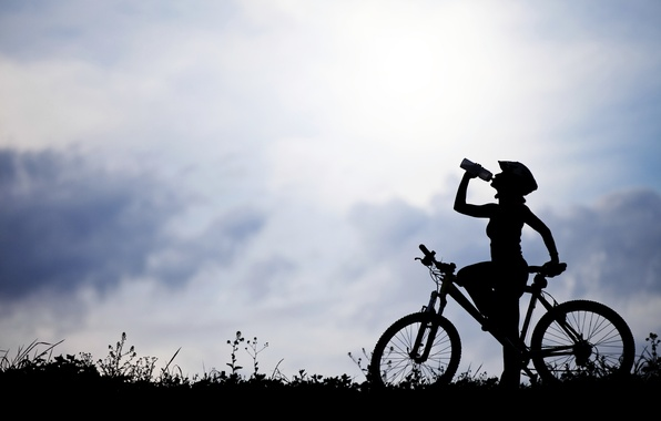 Picture girl, nature, bike, silhouette, bicycle, water bottle