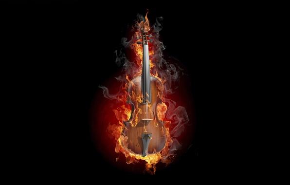 Picture creative, fire, violin, smoke