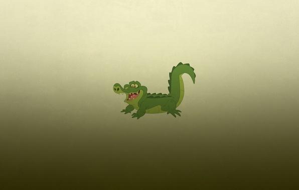 Picture smile, minimalism, crocodile, alligator, crocodile, greenish background, alligator