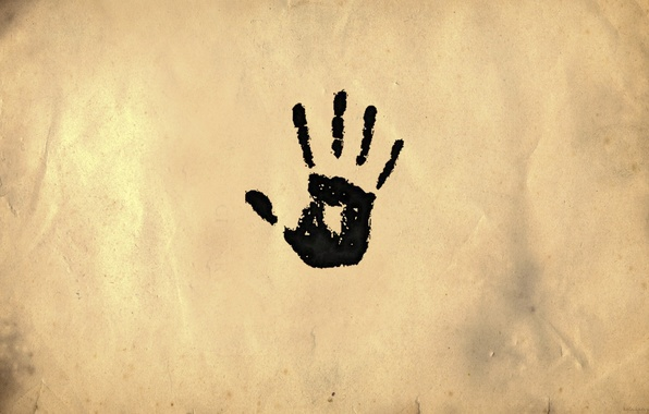 Picture minimalism, palm, imprint