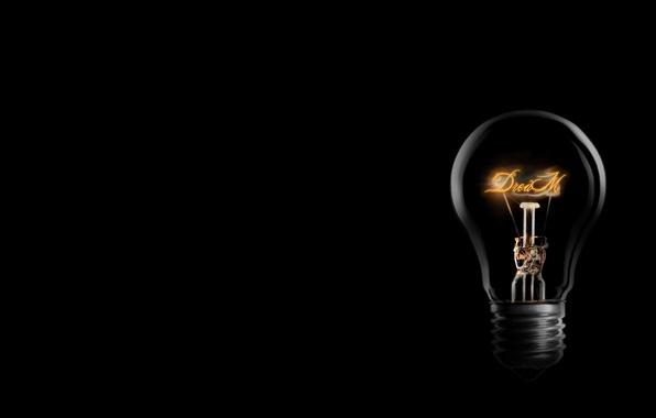 Wallpaper dream, light bulb, light, black, dream, bulb images for desktop,  section минимализм - download