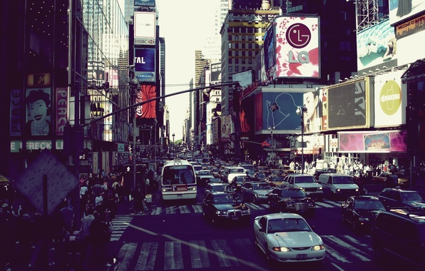 Picture city, the city, movement, megapolis, new york, liveliness