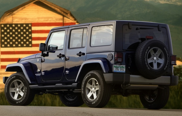 Picture SUV, Jeep, rear view, American flag, Freedom, Wrangler, Ringler, Jeep, Anlimited, Unlimited