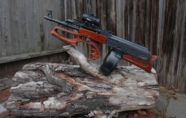 Picture weapons, machine, log, AK-47, bullpup