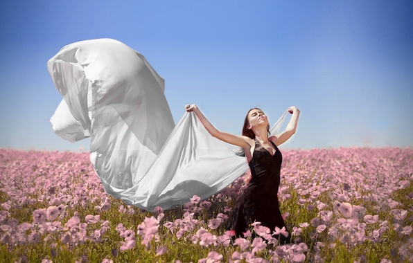 Picture field, freedom, girl, flowers, the wind
