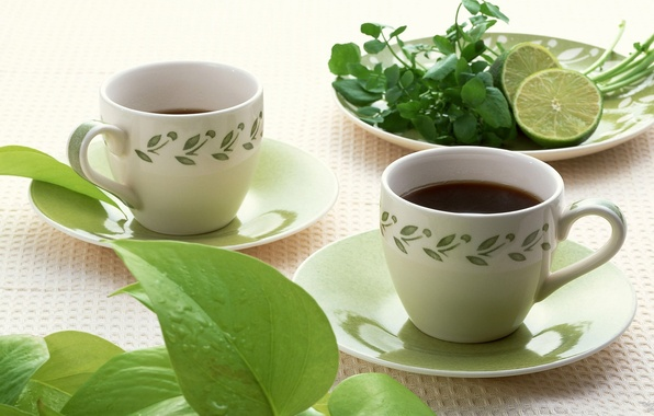 Picture tea, lime, mint