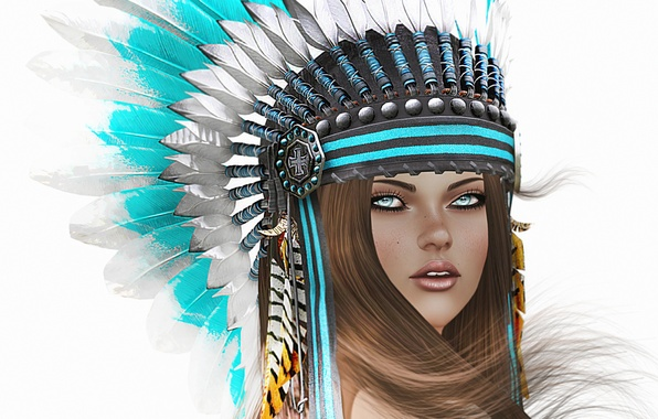 Picture look, girl, face, background, hair, feathers, headdress