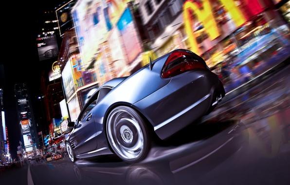 Picture Mercedes-Benz, Auto, Night, The city, Tuning, Speed, Machine