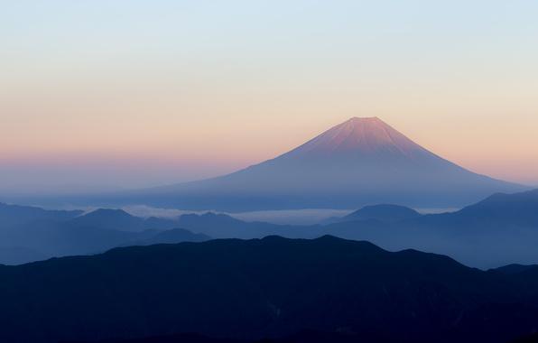 Picture mountains, fog, dawn, morning, the volcano, Japan, Fuji, Fuji