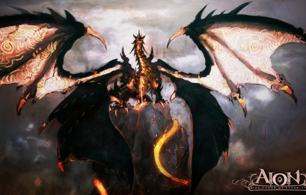 Picture dragon, wings, lava, AION, mmorpg, the tower of eternity
