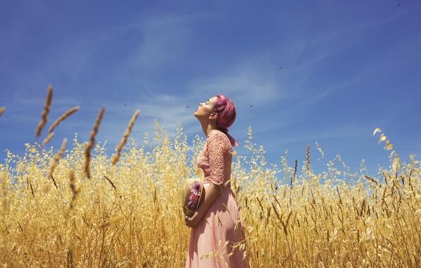 Picture field, summer, girl, face, dress