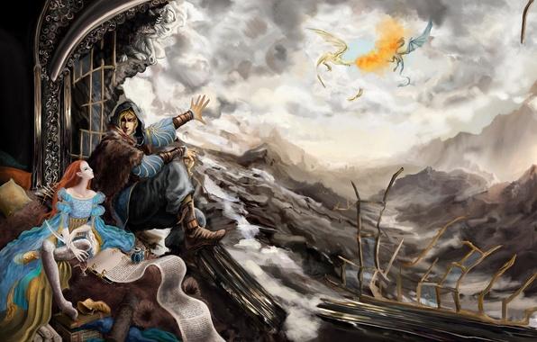 Picture girl, landscape, elf, dragons, fantasy, flight, fantasy, The Elder Scrolls V: Skyrim, fanart, fanart, dragons, …